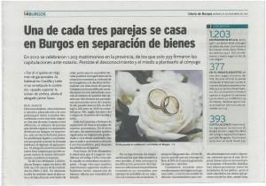 Aparicion en prensa. Diario de Burgos 27.12-2013. Estudio sobre el numero de matrimonios que se casan en separacion de bienes en Burgos